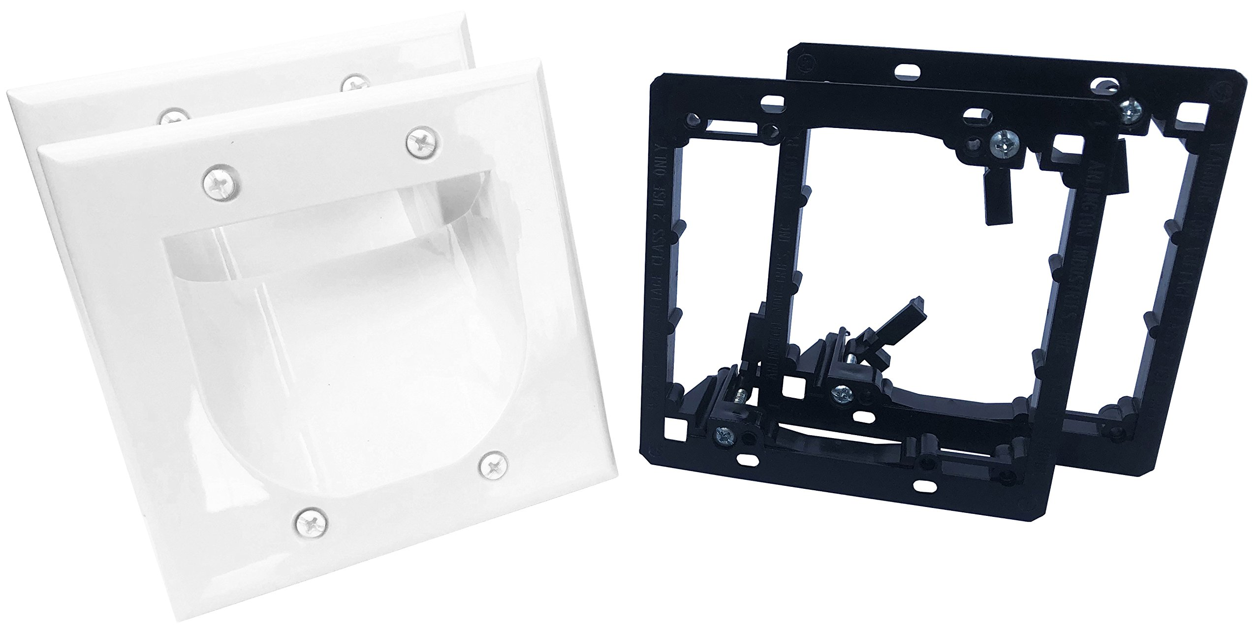 KCC Industries 2-Gang Recessed Low Voltage Cable Plate with Mounting Bracket (2-Pack, White)