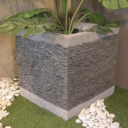 Wanda collection Maceta Tiesto Jardinera Cubo Pizarra 50 cm jardín terraza Piedra Natural: Amazon.es: Jardín