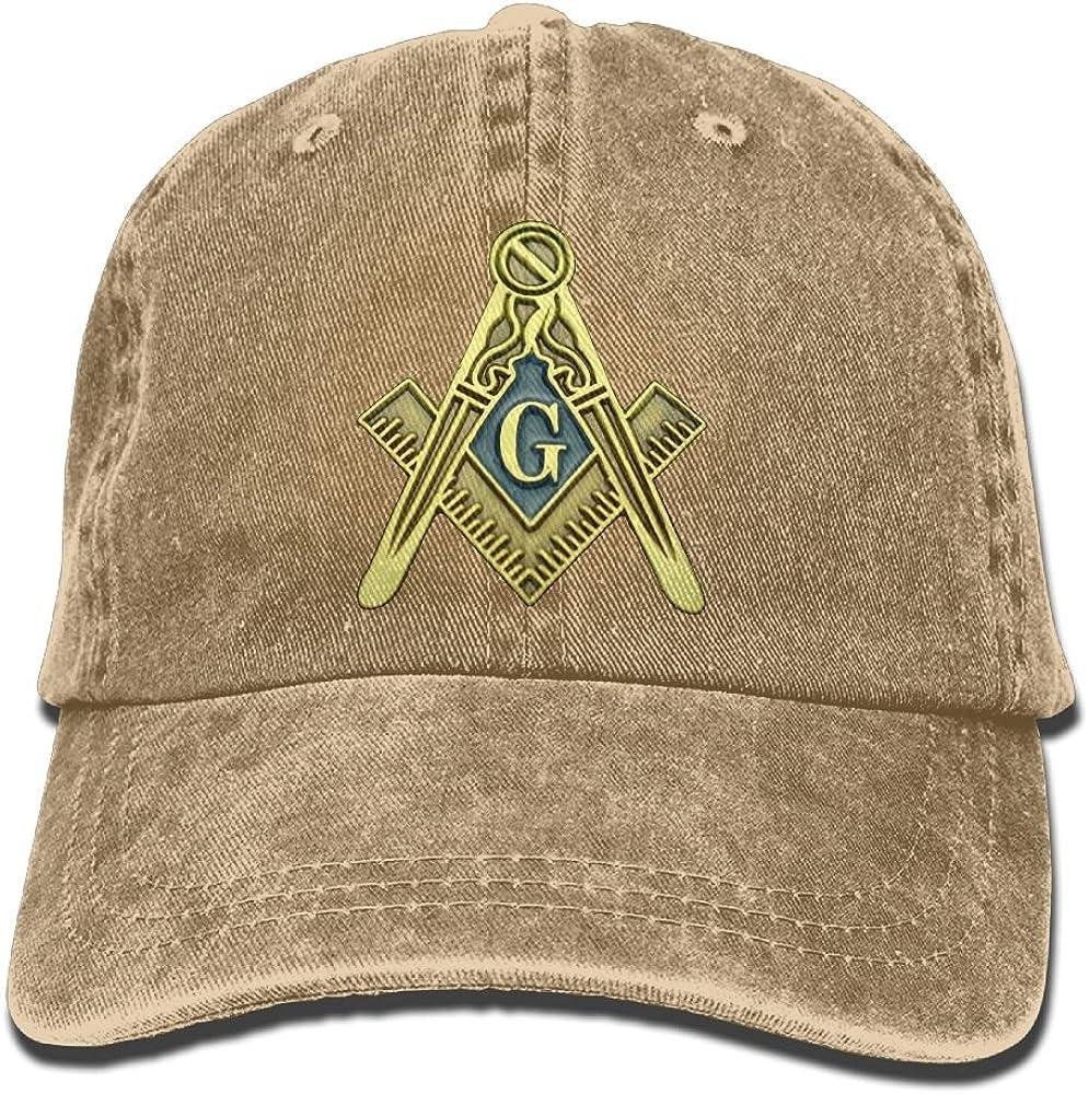 Buyiyang-01 Men Women Masonic Symbol Denim Jeanet Baseball Hat Adjustable Hip-hop Cap