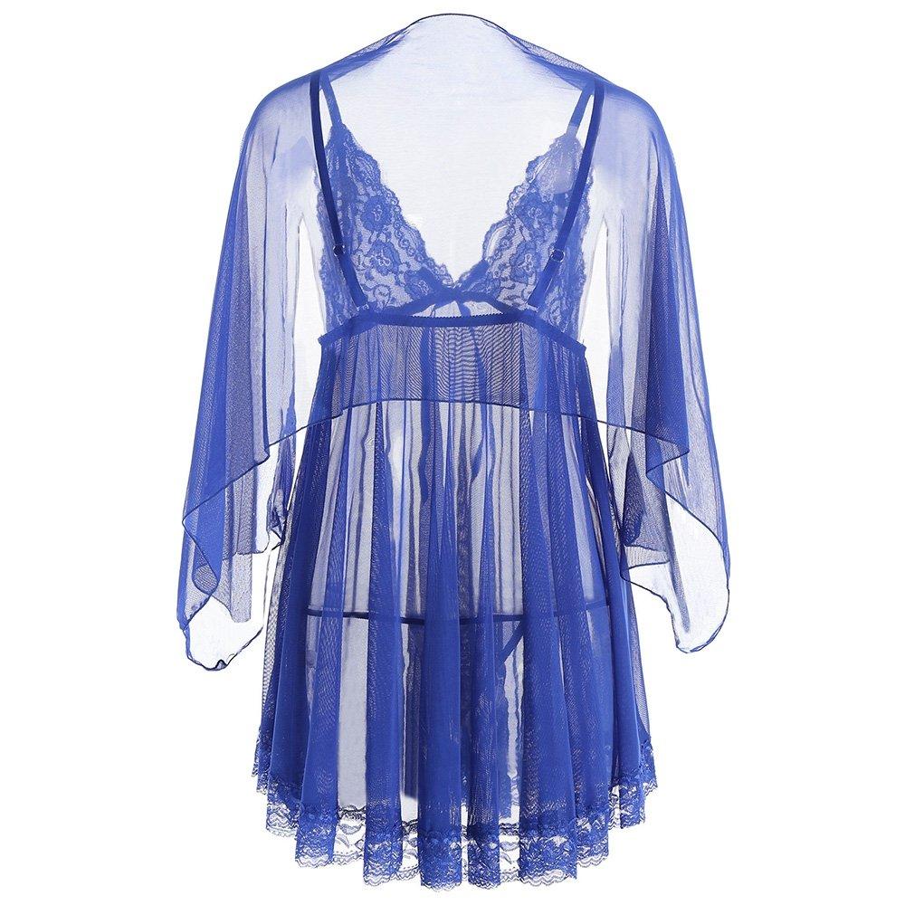 a0b0ed9a5 Amazon.com  EbuyChX Mesh See Through Slip Babydoll Blue M  Clothing