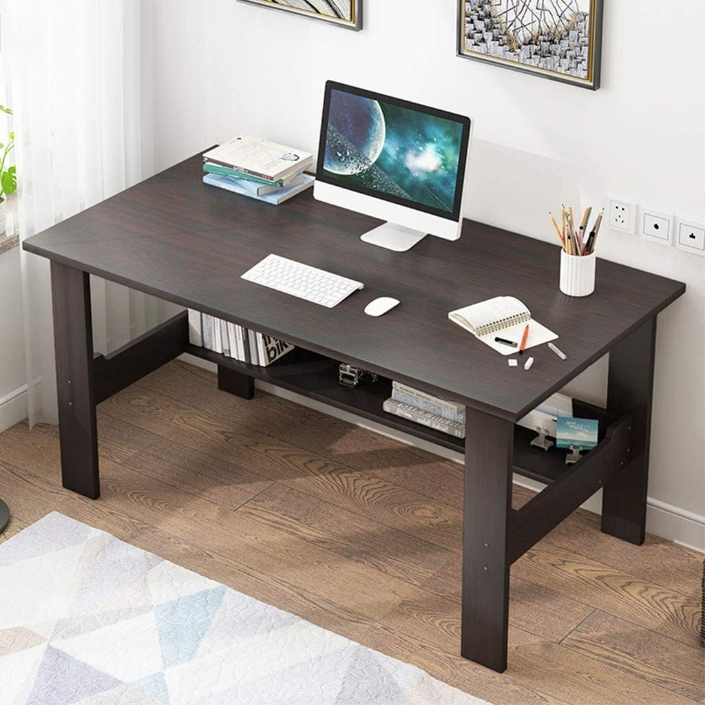 Us Fast Shipment I Shaped Computer Desk for Home Office Living Room,Wooden Smooth Desktop Table Corner Writing Study Desk with Two Layers Storage Book Shelf,Save Space (Black 43 inch)