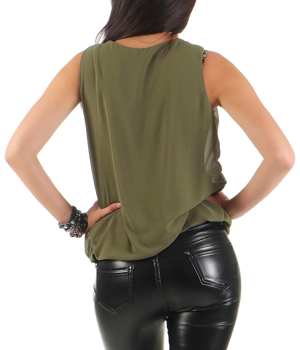Malito dam blus ärmlös | tunika med rund hals | lätt blusskjorta | elegant – tröja 6879 oliv