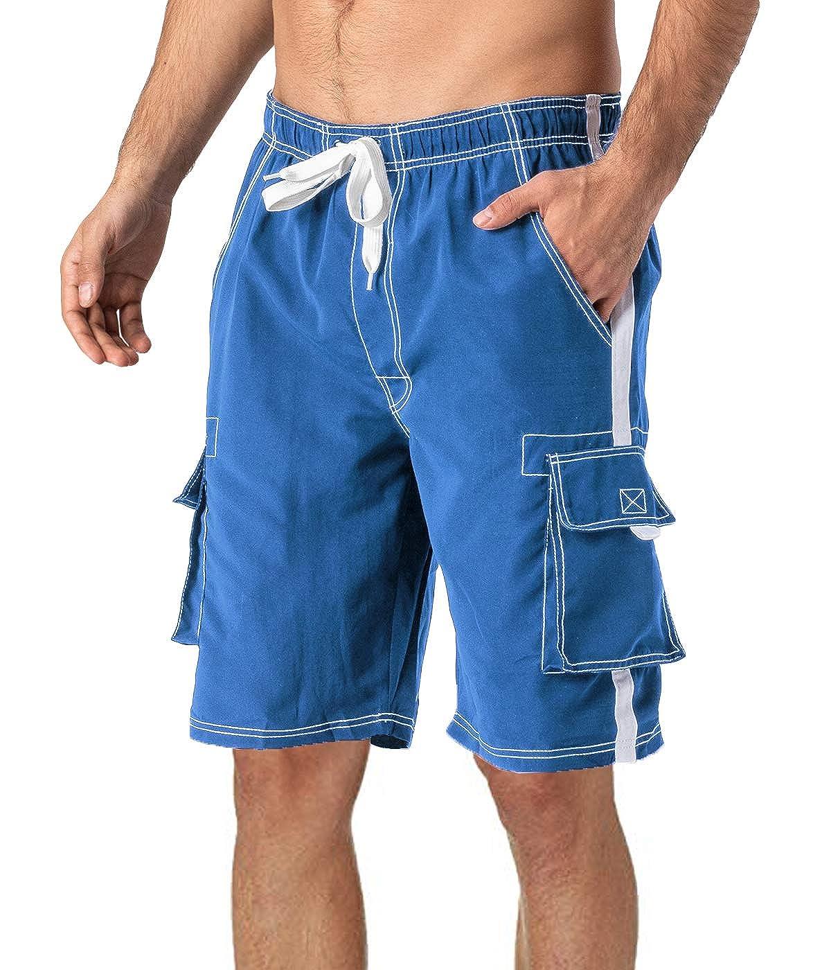 MAGCOMSEN Mens Swim Trunks with Mesh Liner 4 Pockets Quick Dry Beachwear Swimuits Board Shorts
