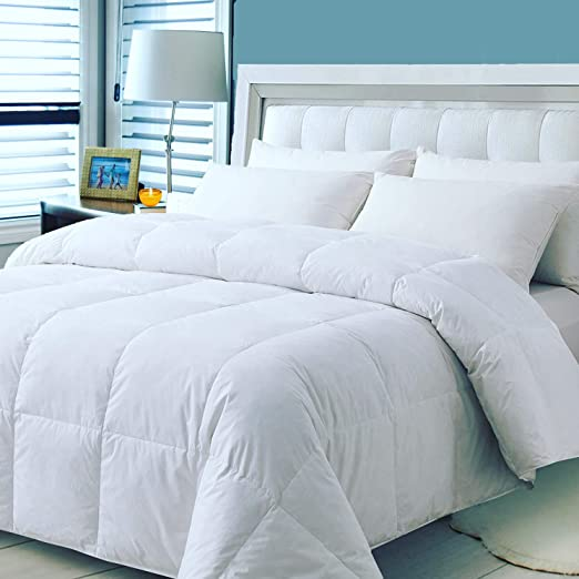 90x90 Soft Comfortable Machine Washable Queen All-Season Medium Warmth Quilted with Corner Tabs White Duck Feather Down Lightweight Down Comforter 100/% Cotton Cover