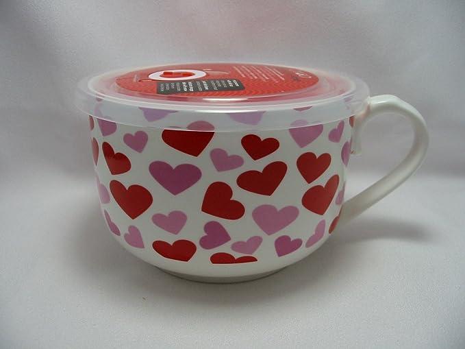 Corazones rojos Ciroa microwaveme cuenco de porcelana ...