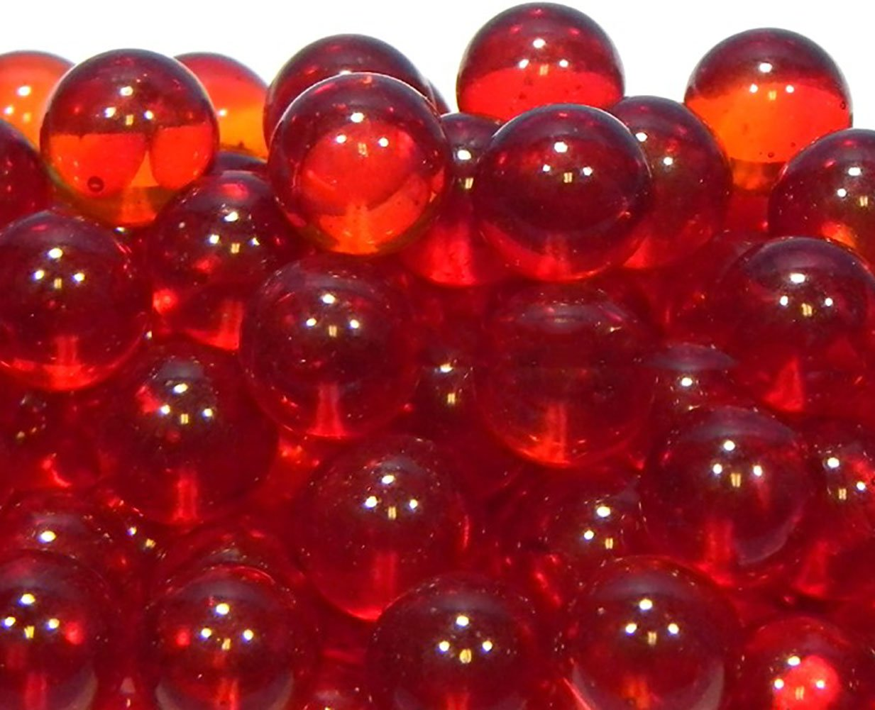 """Unique & Custom {5/8'' Inch} Set Of Approx 60 """"Round"""" Clear Marbles Made of Glass for Filling Vases, Games & Decor w/ Vibrant Shiny Ruby Cherry Tone Cough Drop Look Design [Bright Red Color]"""