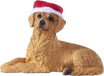 Sandicast Golden Retriever with Santa Hat Christmas Ornament