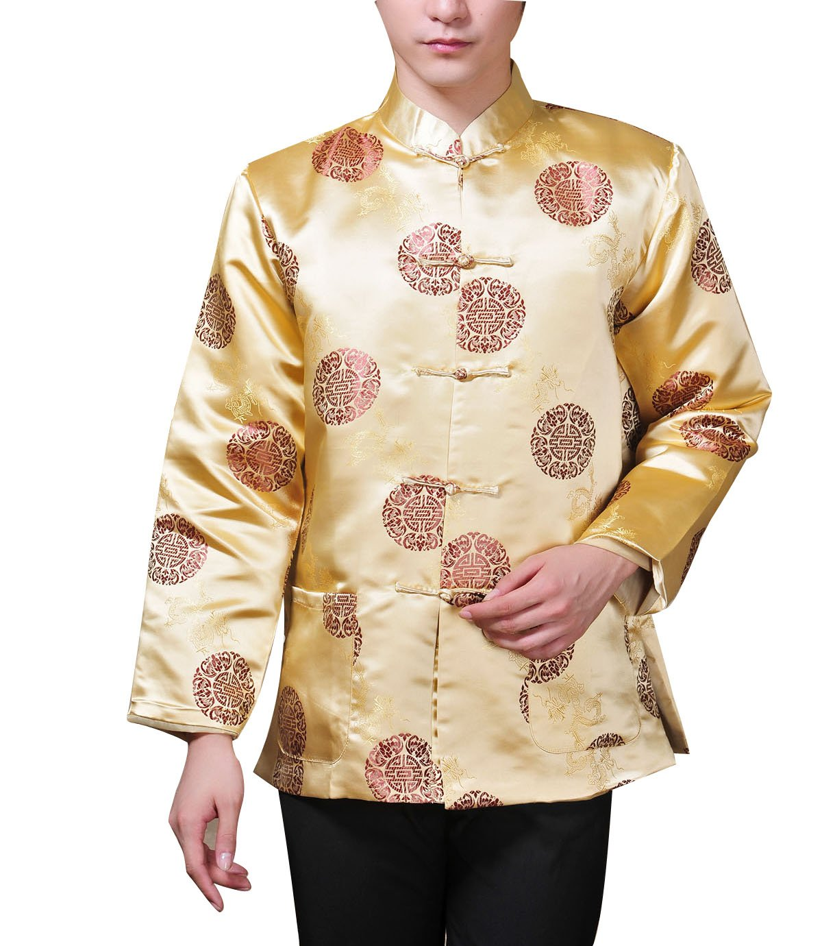 XueXian(TM) Men's Long Sleeve Chinese Style Qipao New Year Outfit Tang Suit (China XXL:Bust 48.81'',Yellow)