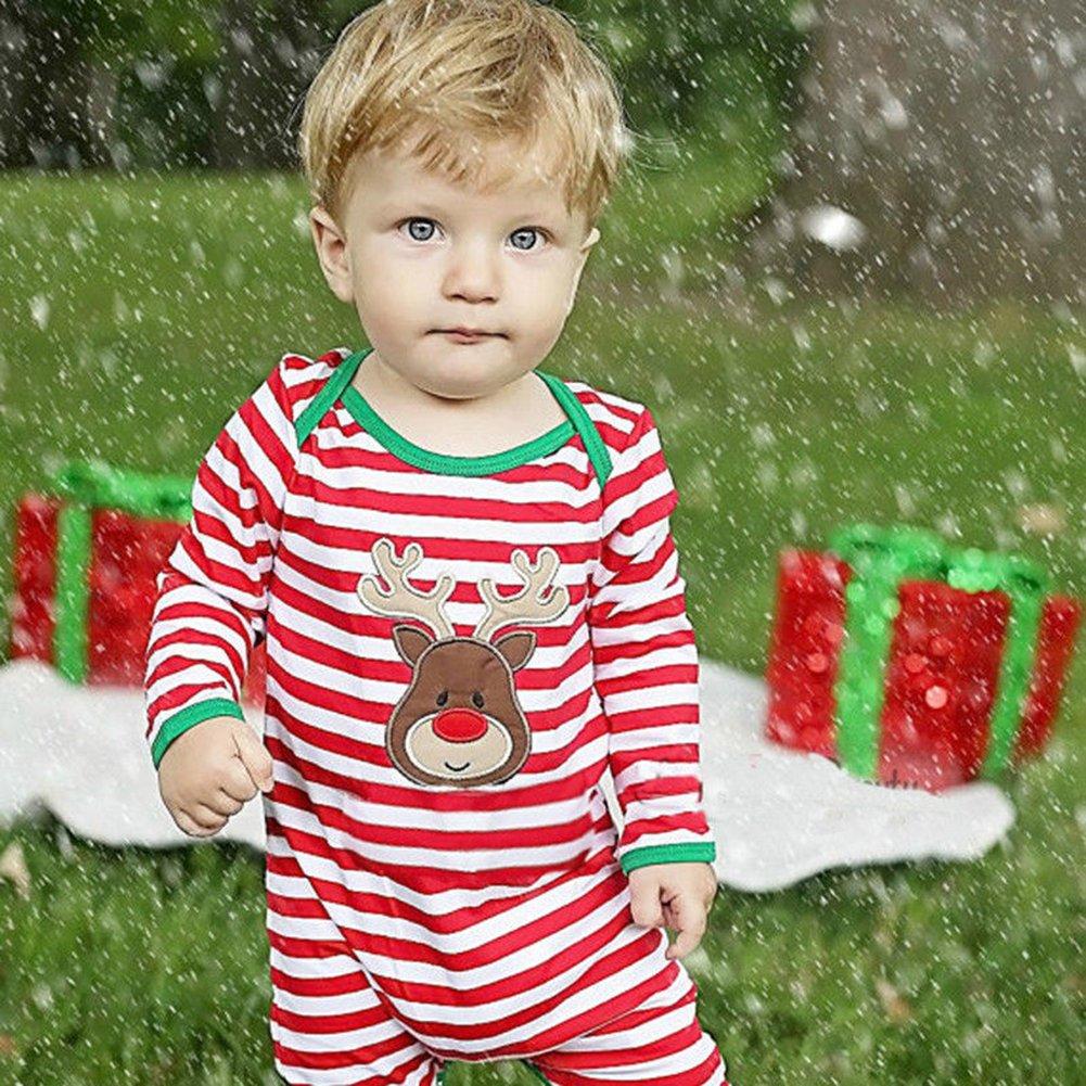 WangsCanis Weihnachts Rotwild Roter Streifen Langarm Strampler f/ür Baby Jungen M/ädchen Spielanzug Kleinkinder