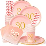 30th Birthday Decorations Party Supplies Napkins,30th Birthday Gifts,Cups,Plates,Straws - 24 Sets (30th Birthday)