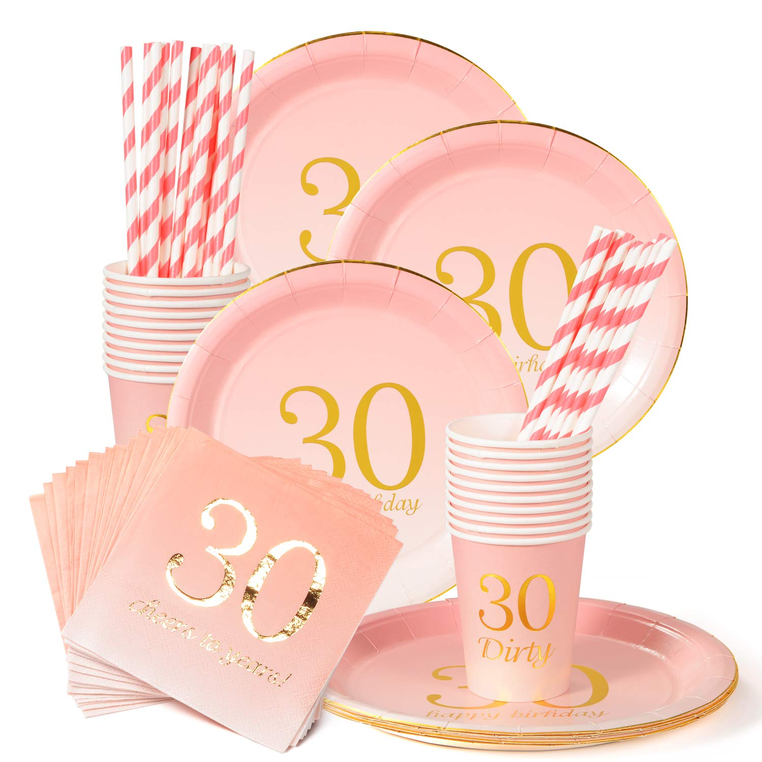 30th Birthday Decorations Party Supplies Napkins,30th Birthday Gifts,Cups,Plates,Straws - 24 Sets (30th Birthday) by Sllyfo