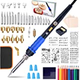 71pcs Wood Burning Kit for Adults- 60W Woodburning Tool Adjust Temp 200-450℃,Burning Wood Pen with Upgrade On/Off Switch…