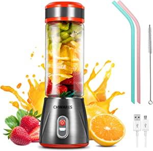 CHWARES Portable Blender Glass USB Rechargeable Personal Blender Smoothies and Shakes Blender with 2 Straws Mini Jucier Cup for Sports Travel Gym