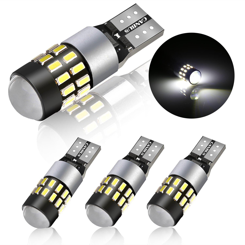 4 Pack T10 W5W 24-SMD 3014 Chipsets Lampadine LED auto,POMILE DC12 V – 24 V 2825 luce di posizione, luci interni, illuminazione targa, lampada da lettura POMILE DC12 V - 24 V 2825 luce di posizione