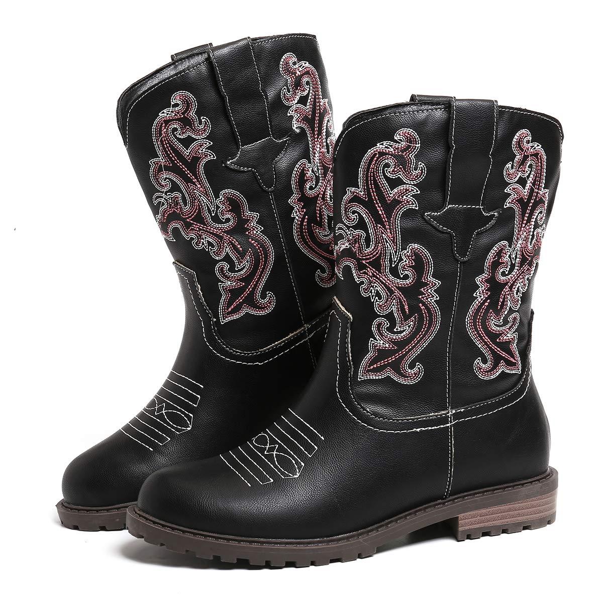 Chaussures de Ville Hiver /à Talons Plat Boots Western Cowboy en Cuir Synth/étique Bout Rond Brod/ées Marron Noir Gris pour Pieds Larges Mollets Camfosy Bottines Santiags Femme