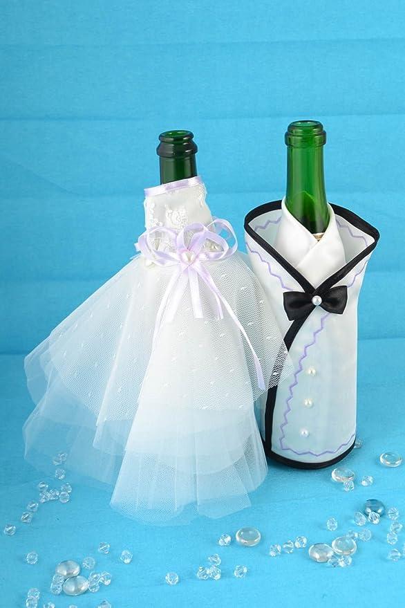 Color blanco y negro hecho a mano festivo boda botella cubre ...