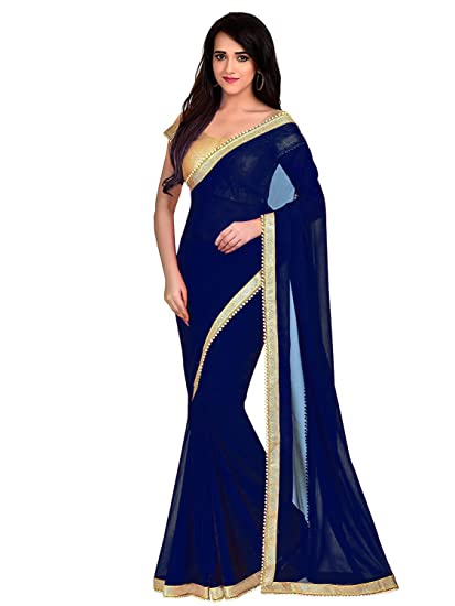 e85761531bf JKSM Women s Georgette Pearl Saree With Blouse (Navy Blue Free-Size Vaish21-Navy  Blue)  Amazon.in  Clothing   Accessories