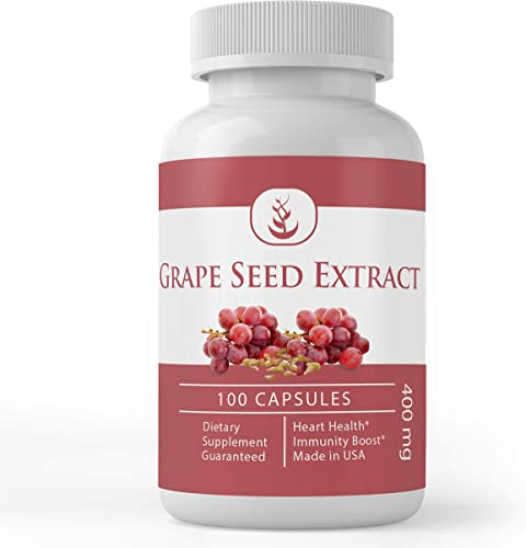 Grape Seed Extract, 100 Capsules, 400 mg Serving, 100 Pure, Non-GMO, Rich in Antioxidants, Carbohydrates, Polyphenol Flavonoids by Pure Organic Ingredients