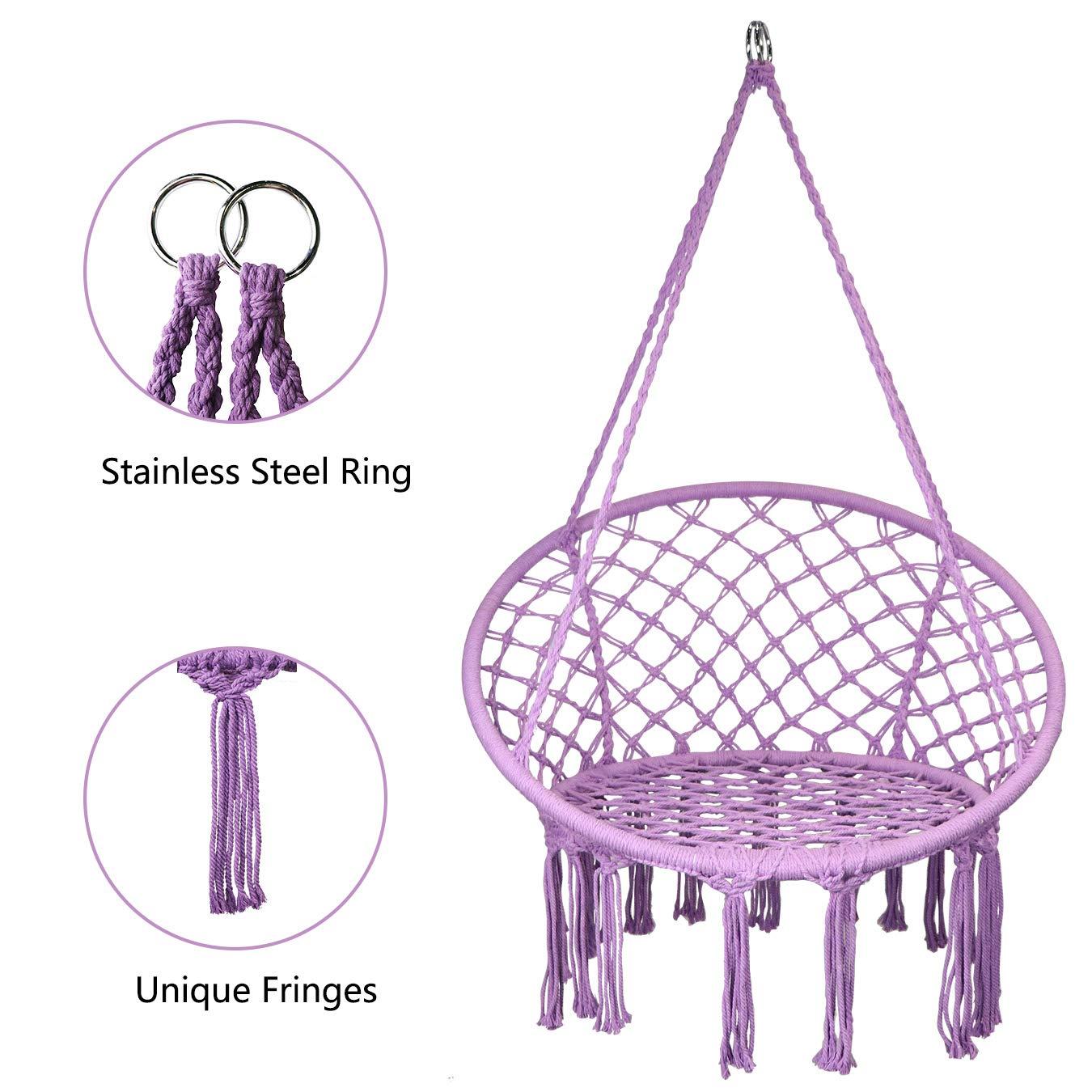 SHOWPIN Hammock Chair Macrame Swing 330 Pound Capacity Handmade Hanging Swing Chair Prefect for Indoor Outdoor Home Patio Deck Yard Garden Reading Leisure Purple