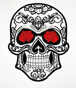 Giletveste Rouge Motard Patch Mort De Tête Rose Pour 7UY8fq