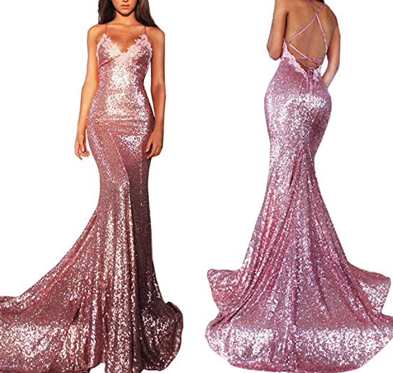 KaBuNi Womens Sequined Shiny Long Prom Gowns Sexy Evening Dresses Pink2