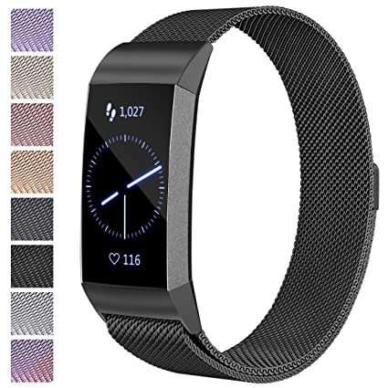 Maledan Metal Bands Compatible with Fitbit Charge 3 & Charge 3 SE,  Stainless Steel Mesh Milanese Loop Magnetic Band Replacement Accessories  Bracelet