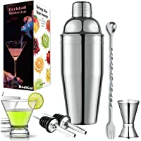 Cocktail Shaker Set -25oz Martini Drink Shaker 18/8 Stainless Steel Rustproof Leakproof Drink Mixer Bar Bartender Set w…