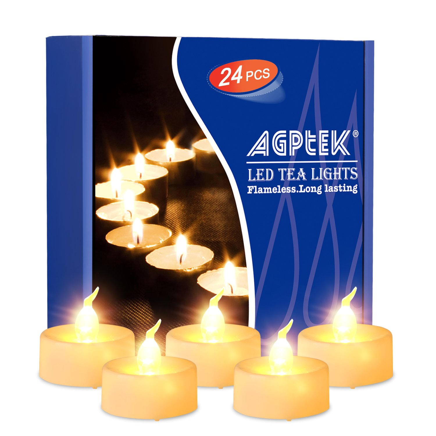AGPtEK Lot 60 LED Tea Light Candle Cool White For Wedding Party Festival Decoration Occasions DE13