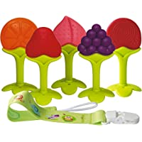 Baby Teething Toys BPA Free Soft Silicone Baby Fruit Teethers Toys with Pacifier Clip/Holder Non-Toxic, Soft, Durable…