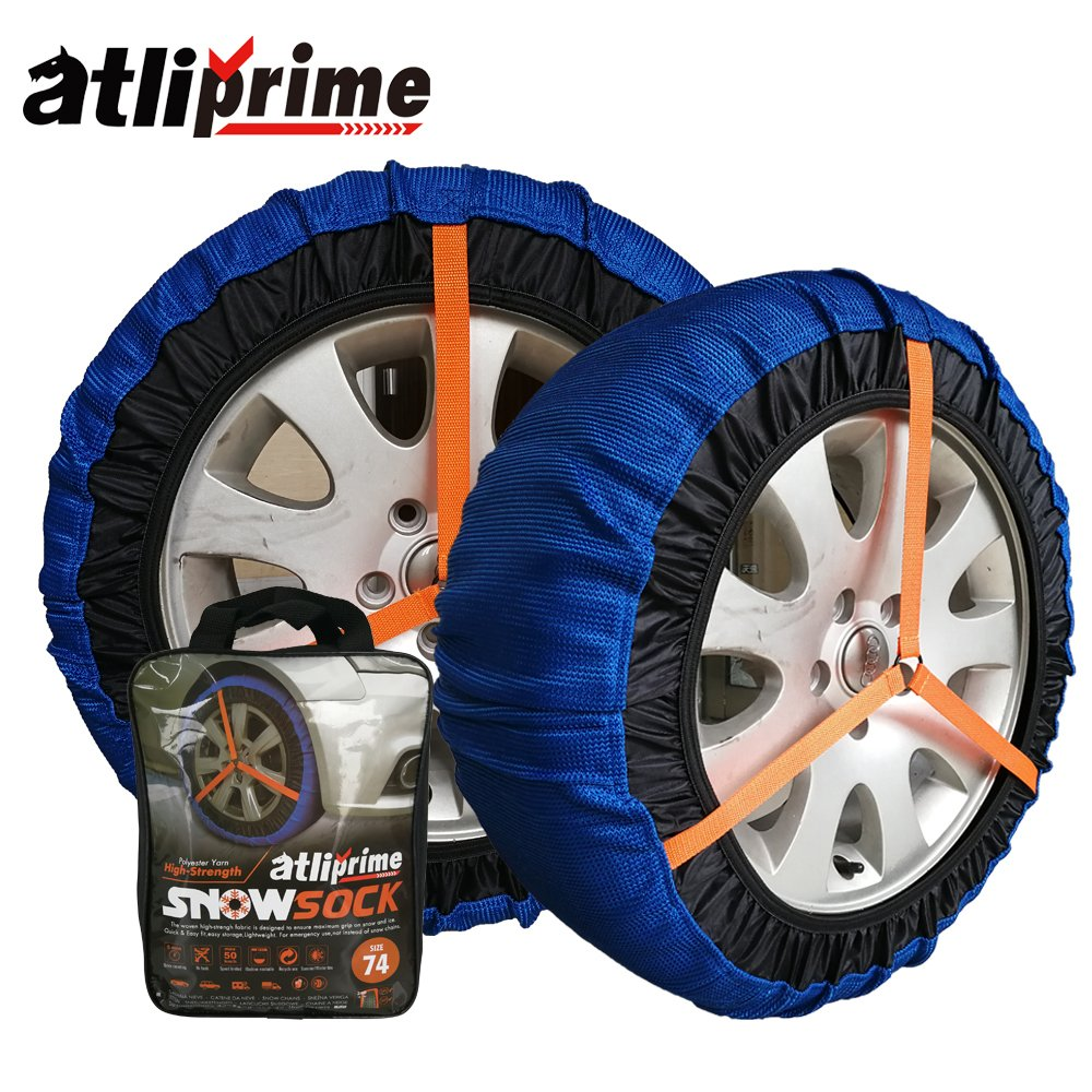 atliprime 2pcs Anti-Skid Safety Ice Mud Tires Snow Chains Auto Snow Chains Fabric Tire Chains Auto Snow Sock on Ice and Snowy Road (AT-SB75) ATLI-SB