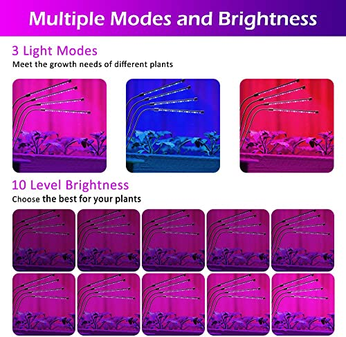 Grow Light,AOBISI 9 Dimmable Brightness Grow Light for Indoor Plants Full Spectrum Indoor Greenhouse,3 9 12 Timer Led Grow Light,ON AUTO Off Plant Light Grow Lights for Seed Starting with Adapter