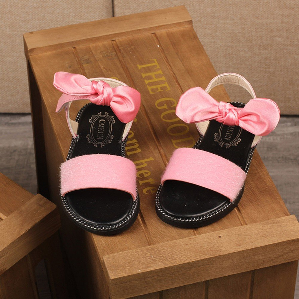 Summer Children Kids Girls Leopard Solid Flock Sandals Beach Princess Shoes