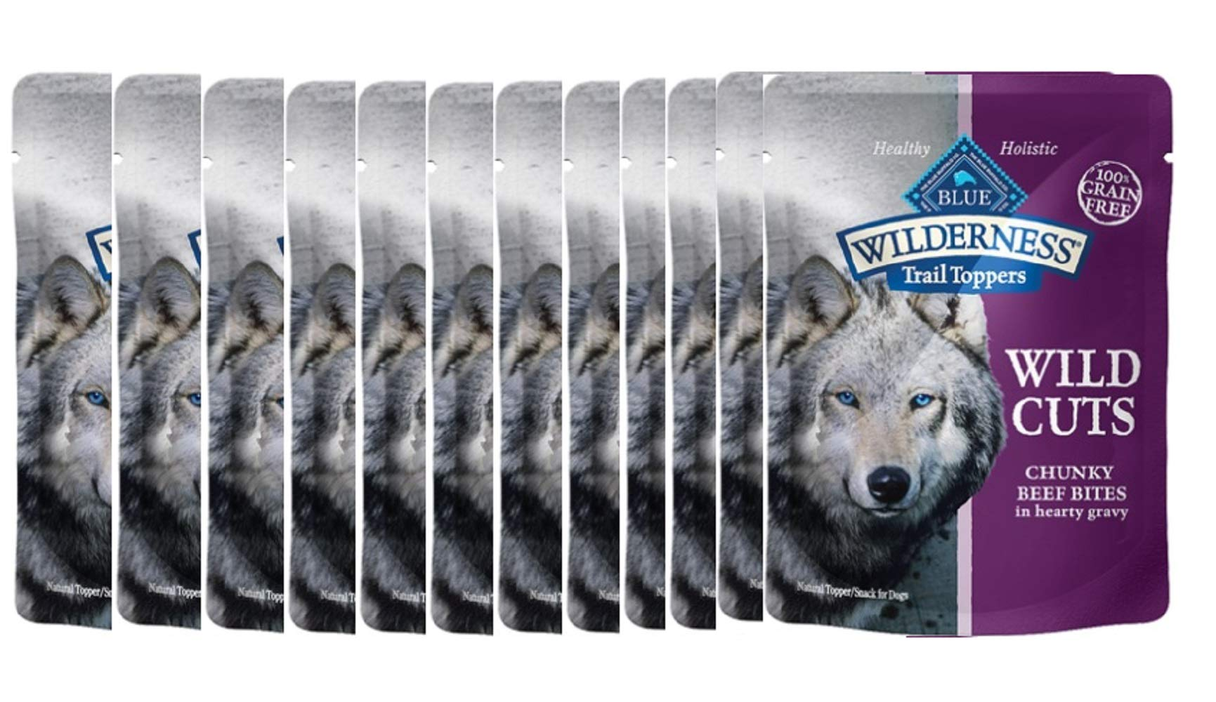 Trail Toppers Chunky Beef Bites Wet Adult Dog Food 3oz Pouches Grain-Free 12 Pack by Blue