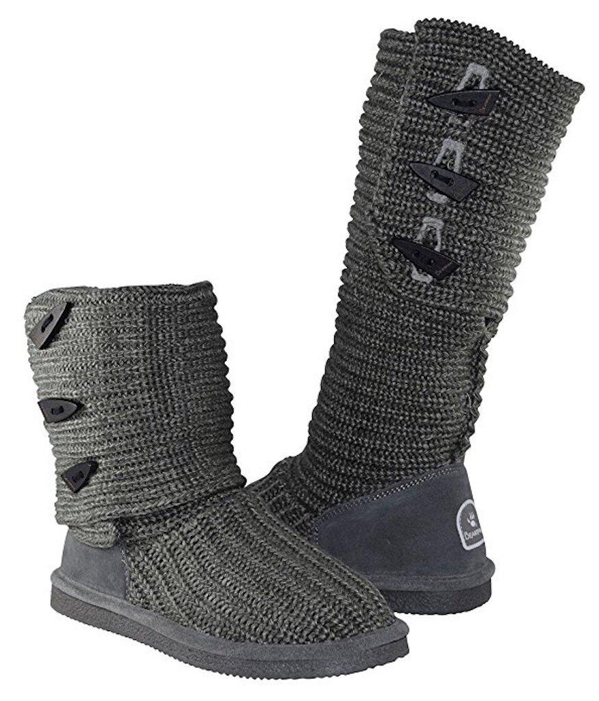 BEARPAW Women's Knit Tall B078YN91BK 5 B(M) US|Grey/Grey