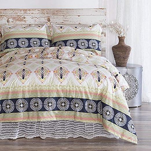 Queen North Home 4 Piece Park Brown 100/% Cotton Duvet Cover Set