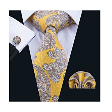2f4e65a4e81f1 Image Unavailable. Image not available for. Colour: Dubulle Mens Yellow Tie  and Pocket Square Set ...