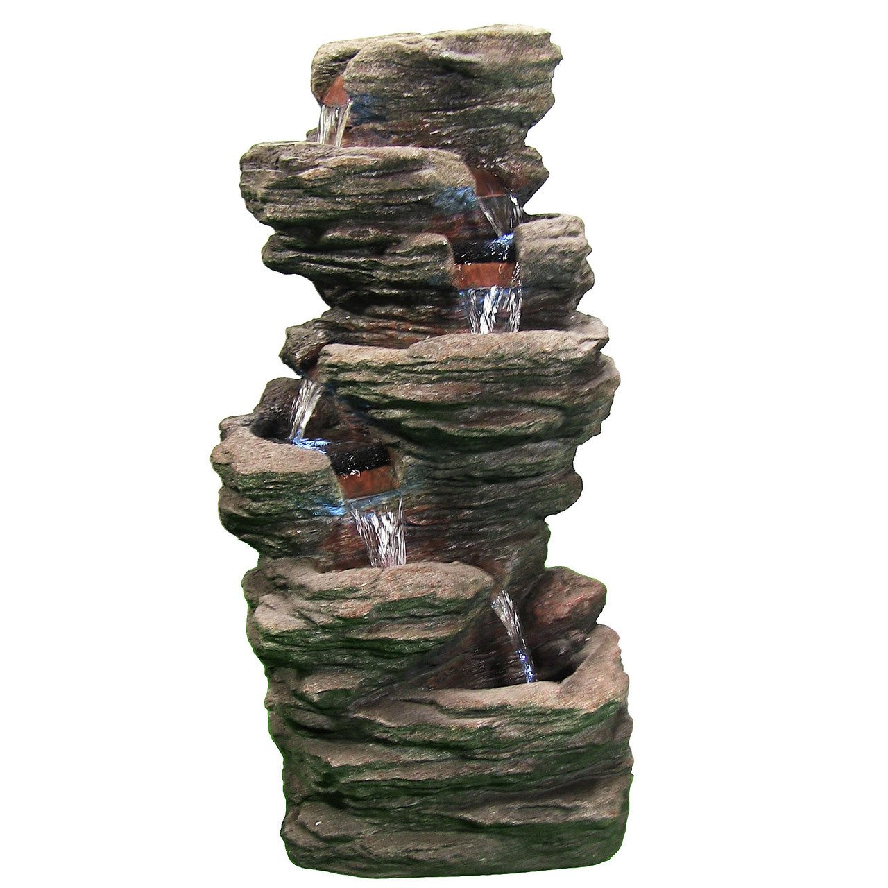 Sunnydaze Multi-Level Flatrock Outdoor Water Fountain with LED Lights, 32 Inch