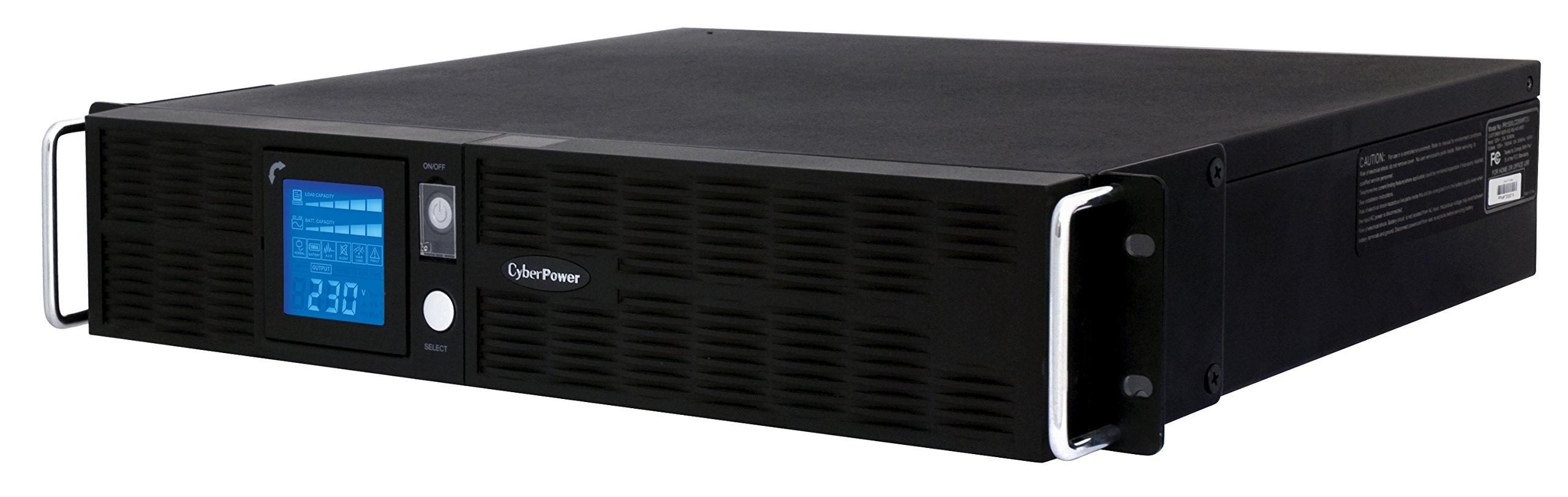 CyberPower PR1000ELCDRT2U High-Voltage Smart App Sinewave UPS System, 1000VA/900W, 8 Outlets, AVR, 2U Rack/Tower