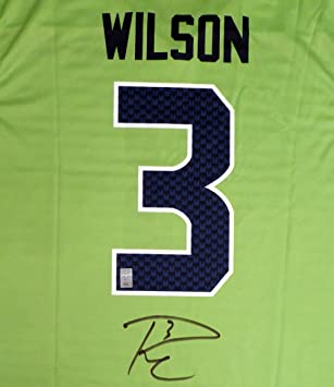 2f61b2ab4 Seattle Seahawks Russell Wilson Autographed Color Rush Blaze Green Nike  Jersey Size XL RW Holo