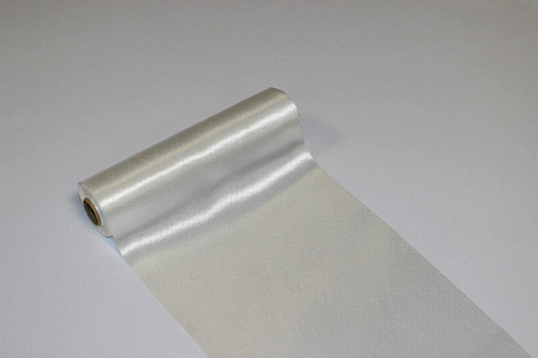 18 cm x 9 m 1 Confezione 100/% Poliestere Stoff-Kollektion Tovaglia Runner in Tessuto Satinato Bianco