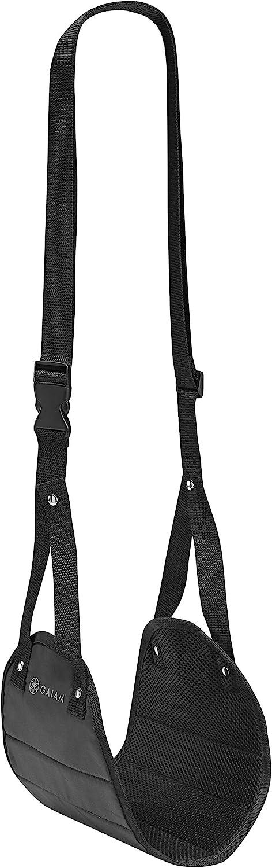 Gaiam Restore Foot Hammock | Adjustable Travel Accessories Portable Memory Foam Footrest for Airplane, Under Desk Office/Home | Prevents Leg Fatigue & Increases Circulation, Black