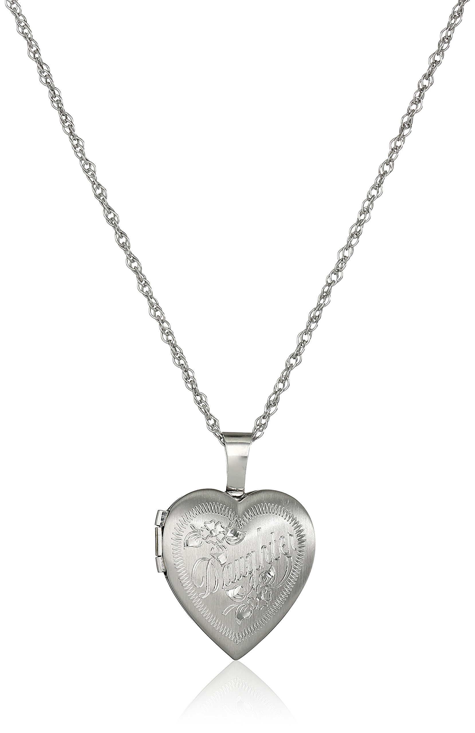 Ladies' Sterling Silver Heart Pendant with''Daughter'' Locket Necklace, 18''