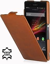 StilGut - Custodia esclusiva in pelle Ultraslim per Sony Xperia Z, Cognac