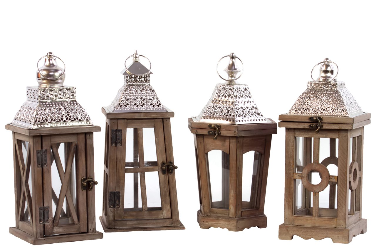 Urban Trends Wood Square Lantern with Silver Pierced Metal Top Ring Hanger and Glass Windows Assortment of Four Stained Wood Finish