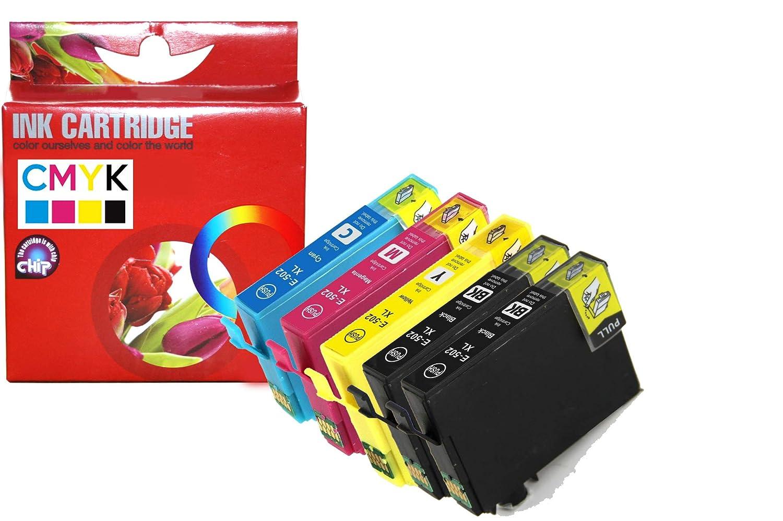 CVT - Pack 5 Cartuchos de Tintas compatibles 502XL para EPSON ...