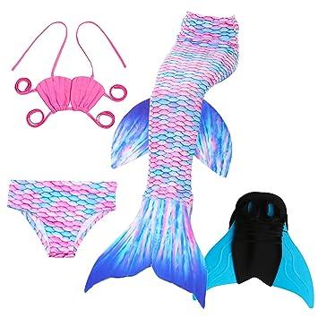 4PCS Conjunto de Bikini de Sirena niñas Traje de Baño de la Cola con Monofin