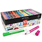 Arteza Whiteboard Pens, Bulk Pack of 52 (with Chisel Tip), 12 Assorted Colors with Low-Odor Ink, Dry Erase Markers for School, Office, or Home