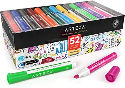 ARTEZA Dry Erase Markers, Bulk Pack of 52 (with Chisel Tip), 12 Assorted Colors with Low-Odor Ink, Whiteboard Pens for Back to School, Office, or Home