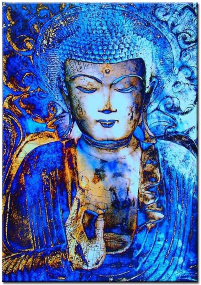 WFYY Pintar por números Kits DIY Pintado a Mano Abstracto Buda Fondo Azul Oscuro Abstracto para niños Adultos Lienzo Pintura al óleo Regalos-Sin Marco 16X20 Inch