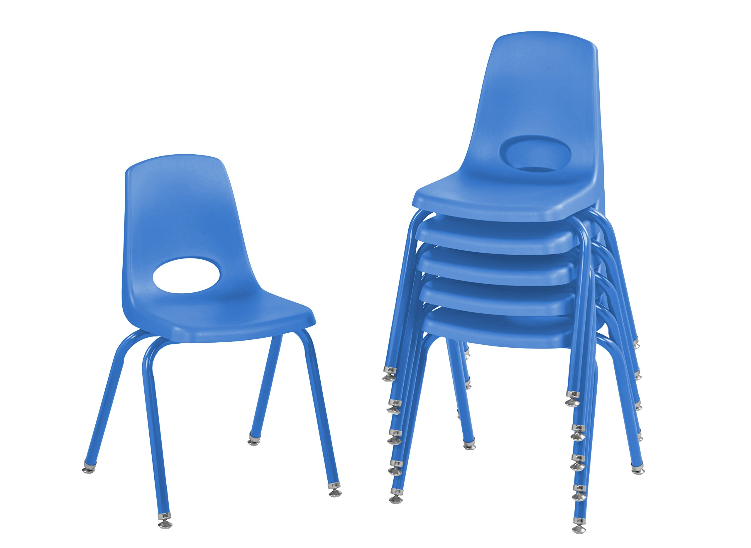 ECR4Kids 16'' School Stack Chair with Powder Coated Legs and Nylon Swivel Glides, Blue (6-Pack)